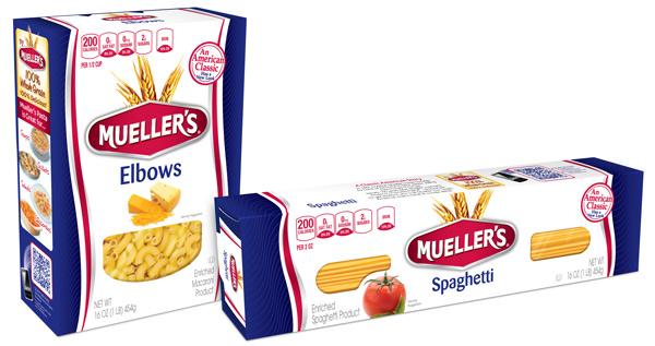 Mueller's pasta branding and packaging by PKG