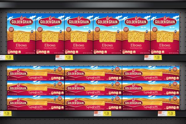 Golden Grain Pasta designed by PKG showcases a billboard effect on shelf