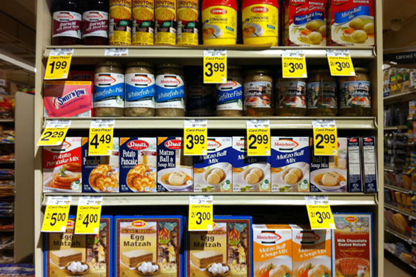Passover packaging on an aisle end cap