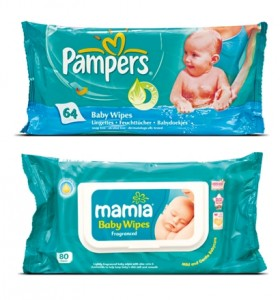 Pampers and a copycat brand
